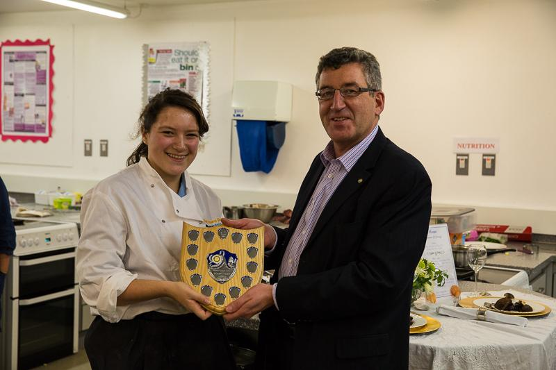 Rotary Young Chef 2014-15 - Jersey Final November 2014 - The winner receiving her trophy from Eamon Fenlon Vice President Rotary Club of Jersey.