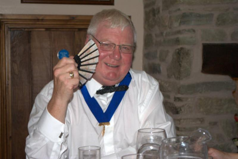 President's evening at the Riverside Inn, Aymestry - Kevin with Cathy's fan to cool off