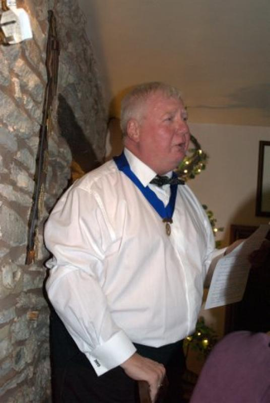 President's evening at the Riverside Inn, Aymestry - Kevin tells a story