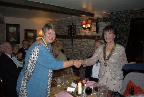 President's evening at the Riverside Inn, Aymestry - Sheila accepting PHF award from Dorothy
