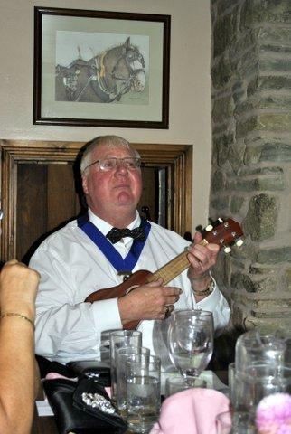 President's evening at the Riverside Inn, Aymestry - Kevin does a great Jake Thackeray