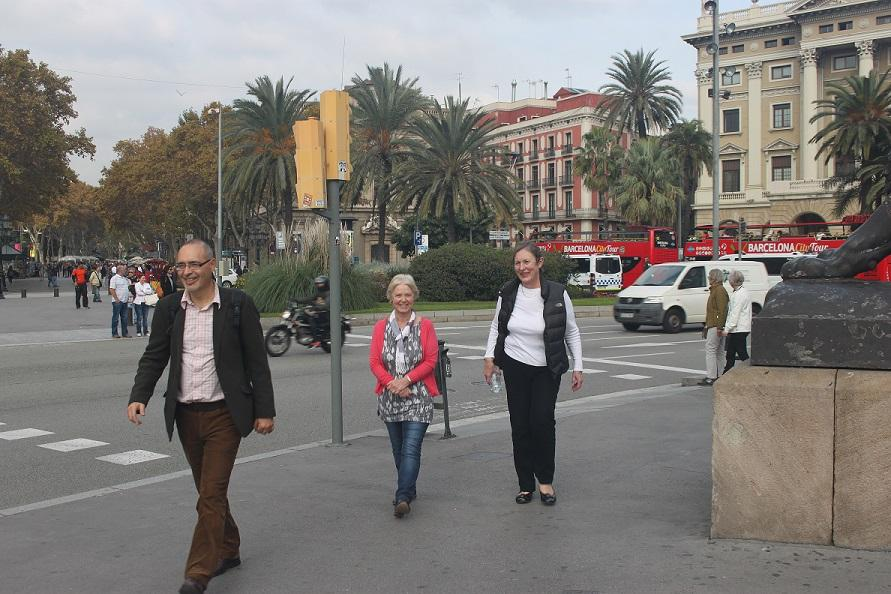 Barcelona Trip - Steve, Jan and Jane safely across the roundabout near the Ramblers