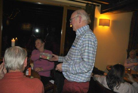 Family Quiz and Supper at the Baron - Kim collecting money and selling raffle tickets to guests of Steve and Vi....