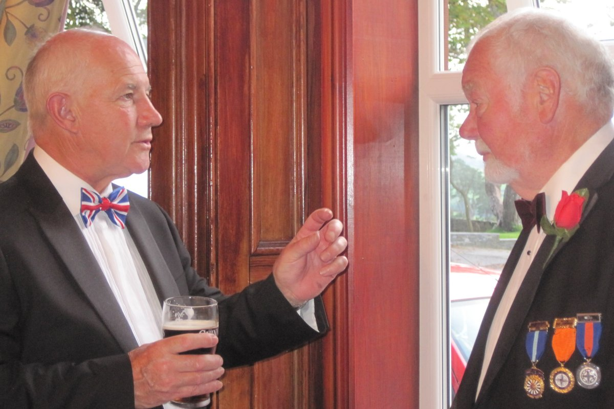 Millom Club Charter Dinner 2016 - David explains it all to Paul