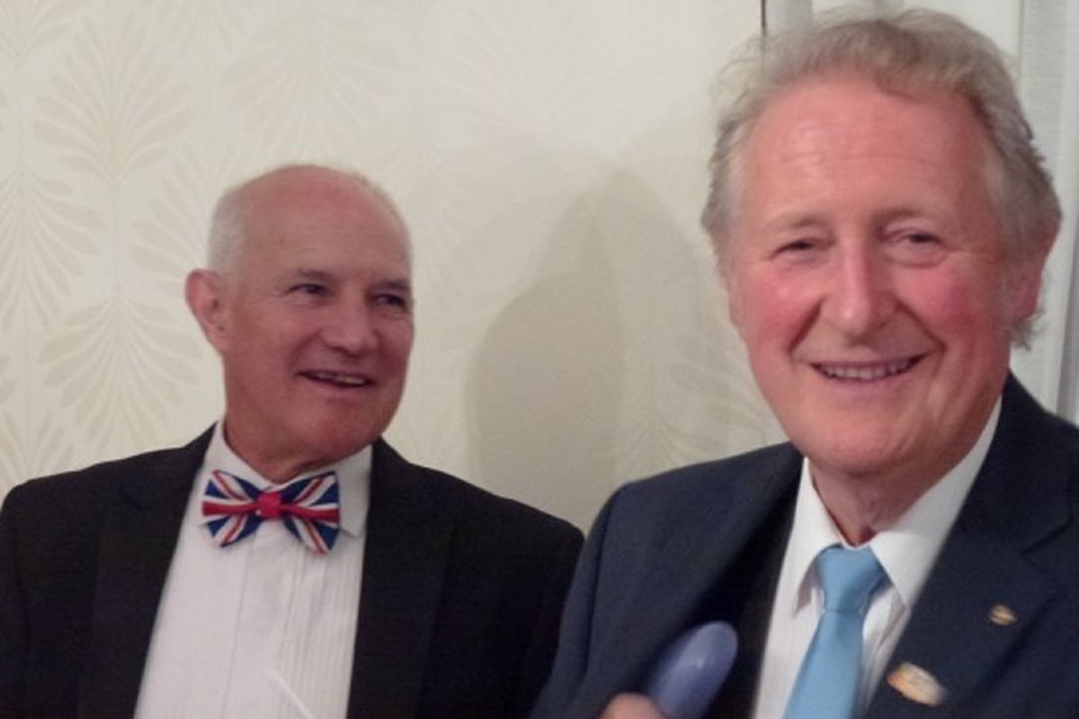 Millom Club Charter Dinner 2016 - David and Chris share a joke
