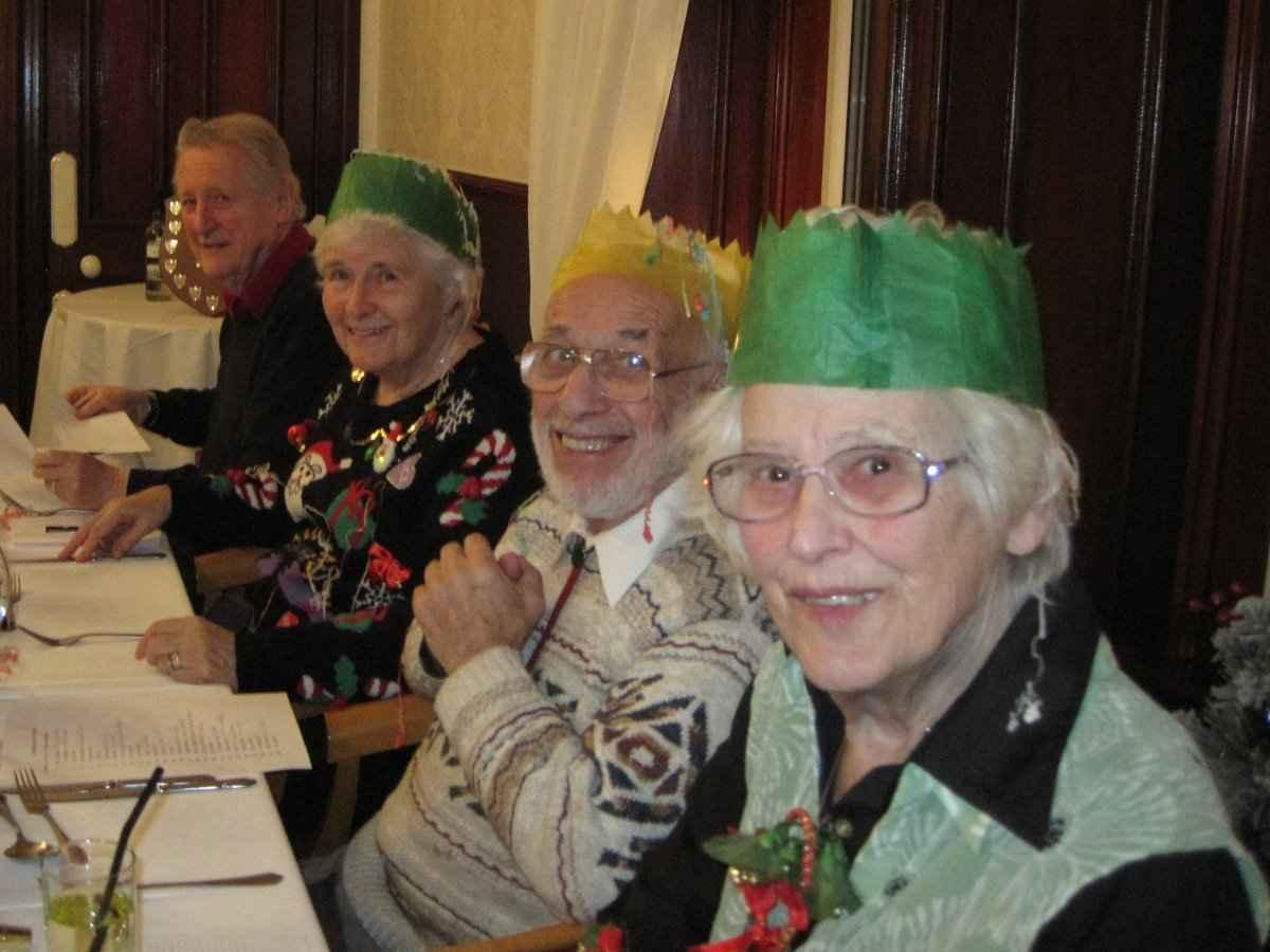 Christmas Party 2016 - Ladies, and Gilbert, in hats
