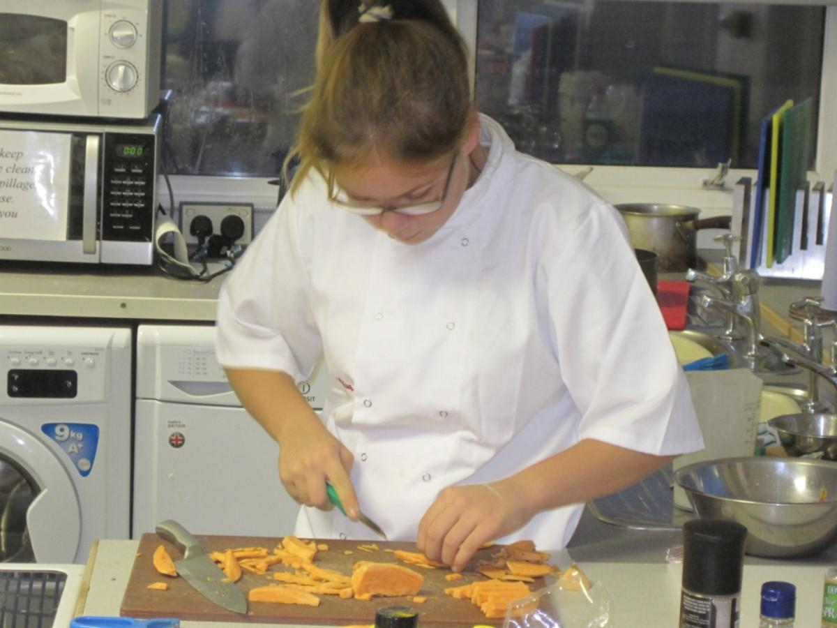 Rotary Young Chef competition 2016  - Mia is absorbed in her efforts.