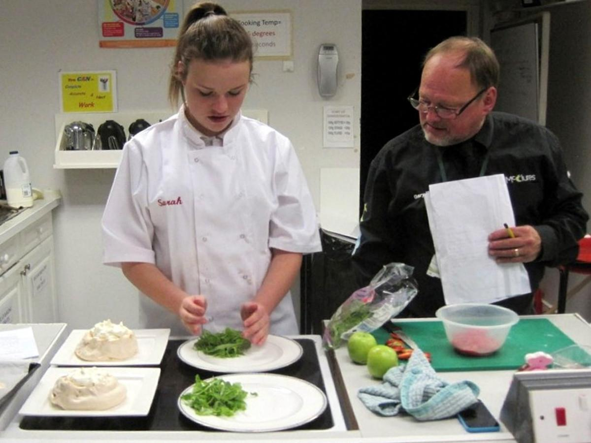 Rotary Young Chef competition 2016  - Sarah is visited by judge Gary McClure.
