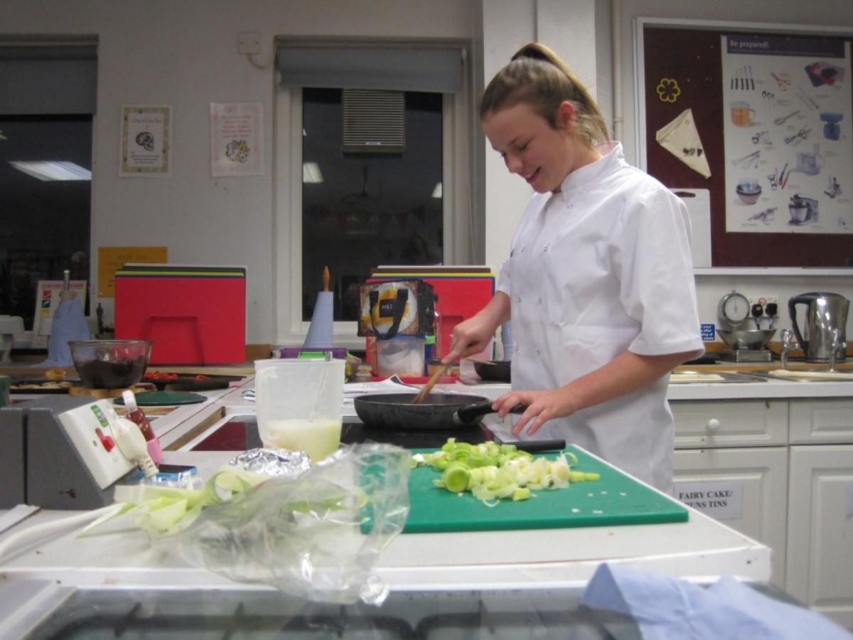 Rotary Young Chef competition 2016  - Sarah's preparation is going well.
