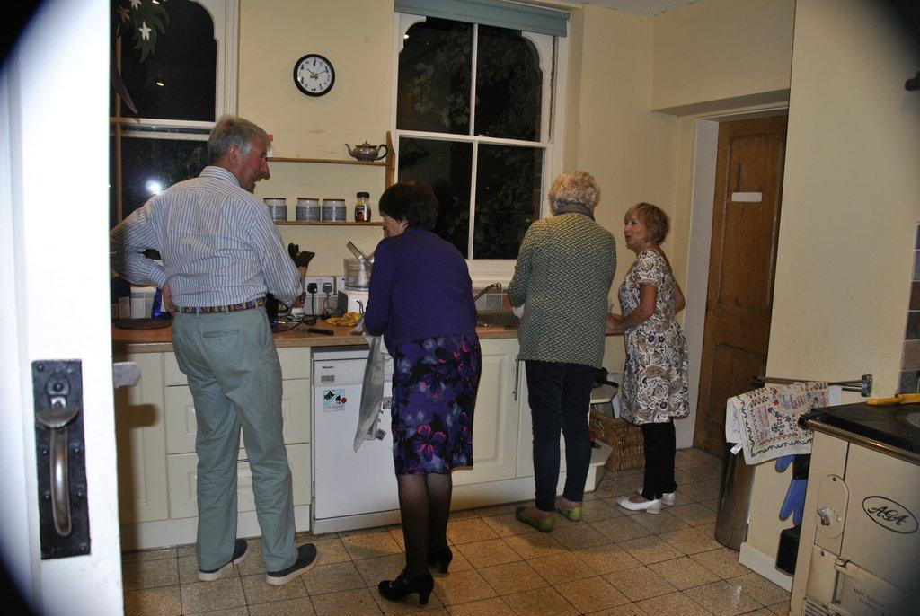 Progressive/Safari supper for charity - David, Dorothy, Sandie, Gilli helping out in the kitchen