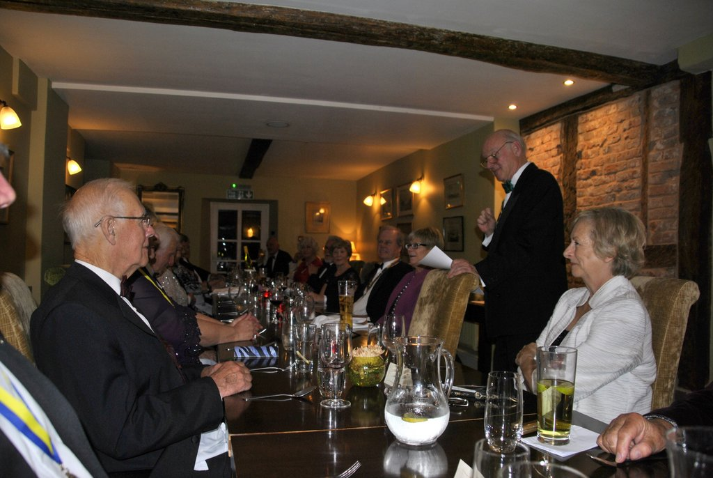 Presidents Night at the Lion in Leintwardine - Kim auctioning the BMW weekend hire