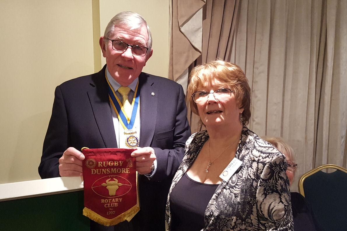 Shanklin Rotary Club Welcomes Mitch Jones - Carolyn Robbins presents a gift from Rugby Rotary Club