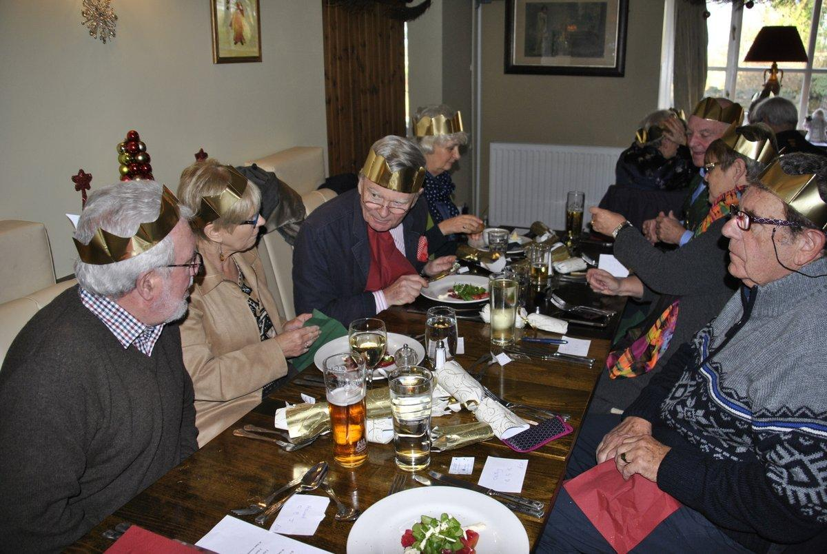 Golfing Rotarians Christmas lunch Portway, Staunton - Chatting and munching 1