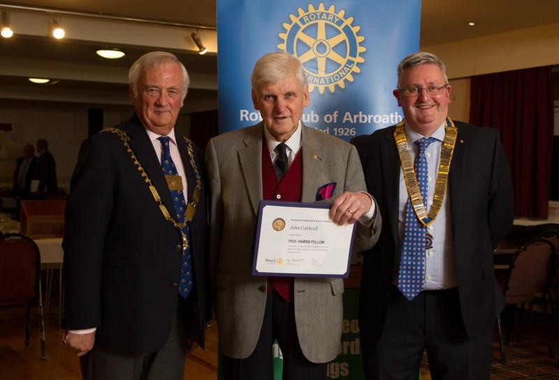 Club Photo Gallery July 2015 to June 2016 - Member Dr John Caldwell receives his Paul Harris Fellowship Award from District Governor Mike Halley (L) and Club President David Miller (R)