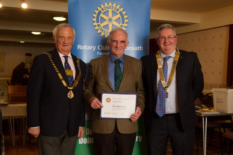 Club Photo Gallery July 2015 to June 2016 - Member Gordon Law receives his Paul Harris Fellowship Award from District Governor Mike Halley (L) and Club President David Miller (R)