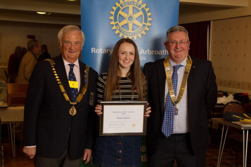 Club Photo Gallery July 2015 to June 2016 - Morgan Cosgrove (Centre) receives the inaugural Junior Citizen of the Year Award from District Governor Mike Halley (L) and Club President David Miller (R)