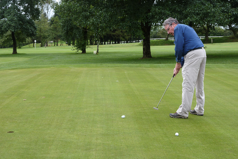 Golfer - Non-Golfer Competition, September 2016 - President Geoff putting (badly!)