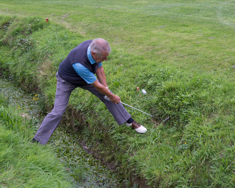 Golfer - Non-Golfer Competition, September 2016 - The ball bounced back, landed to the left of the ditch.  Ian remained dry!