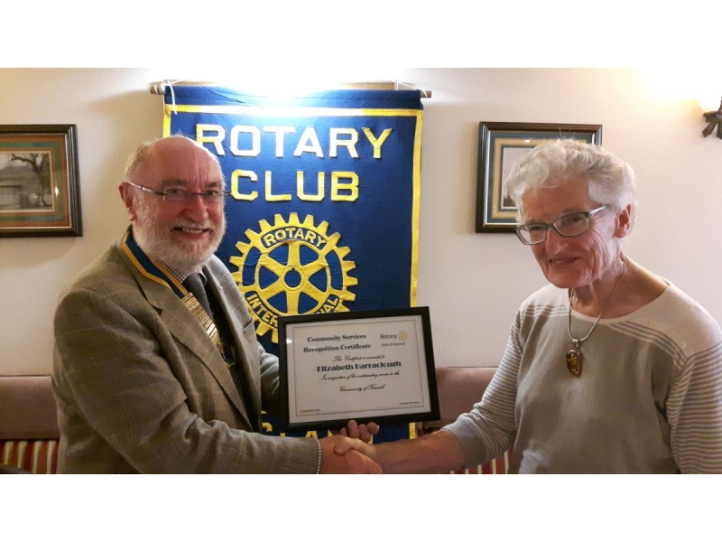 ABOUT Rotary Keswick - President Phil Davies presents Elizabeth Barraclough OBE with an award recognising her contributions to our community in many forms.