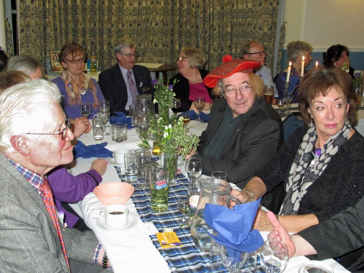 Burns Night at Pinner Hill Golf Club - Ed and his hat with ADG Brian Johnson and wife Christine who joined us for the evening