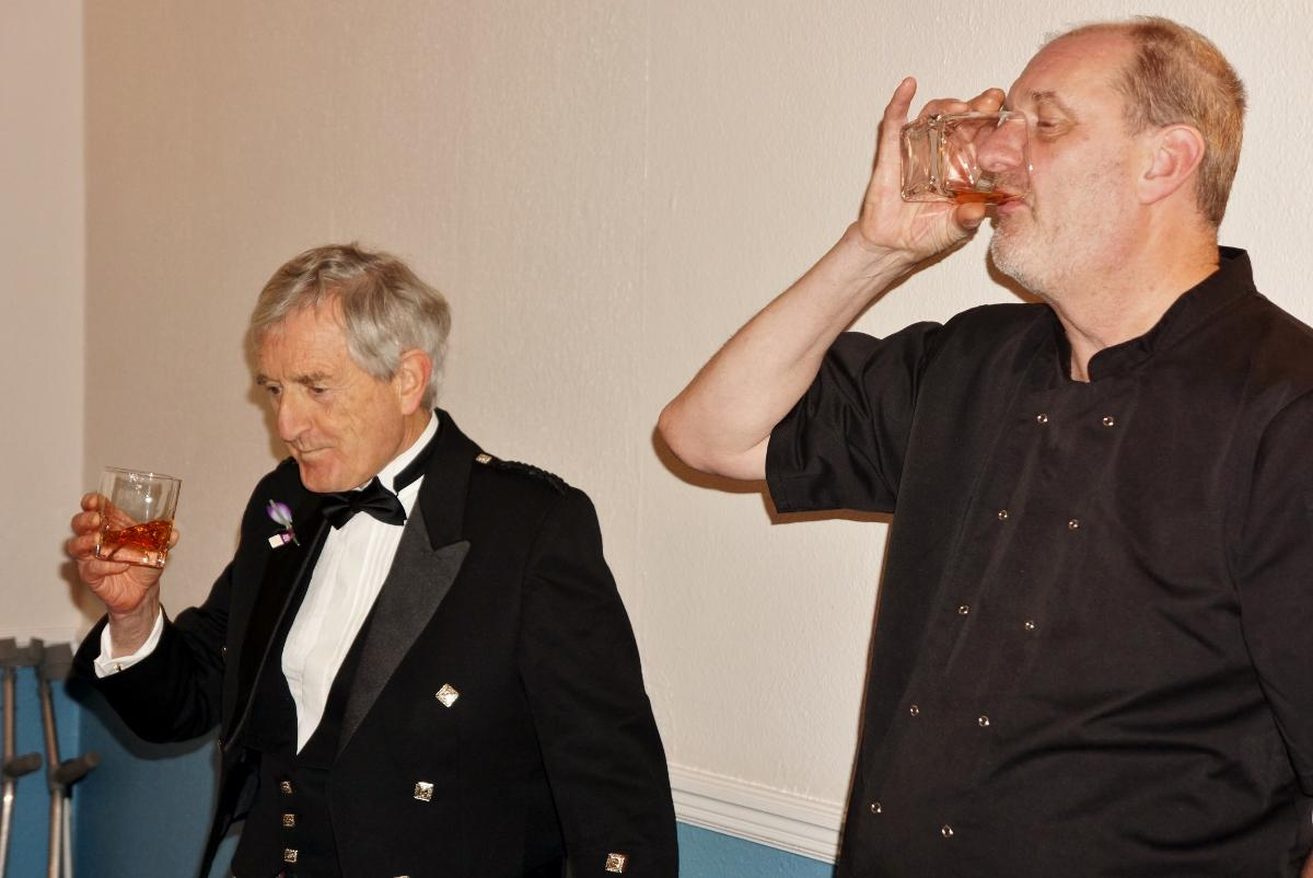 Burns Night at Pinner Hill Golf Club - ... and toasts the haggis!