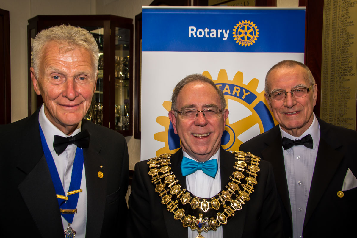 The Rotary Foundation centenary celebration. - The Mayor of Stockport, Councillor Chris Gordon with our two new Paul Harris Fellows.