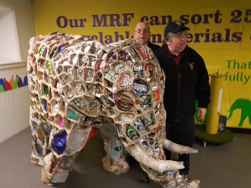 Visit to Gilmoss waste recycling centre - President Karen and Rtn Ken with the recycled can elephant
