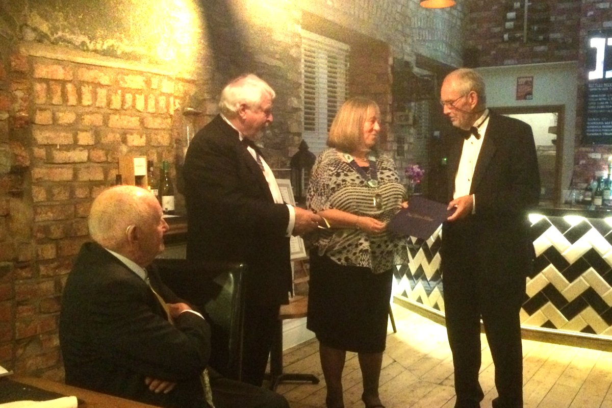 Millom Club Charter Dinner 2018 - Mary presents Keith's PHF award