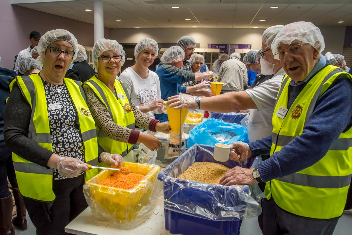 Rise Against Hunger meal packing - On the production line.