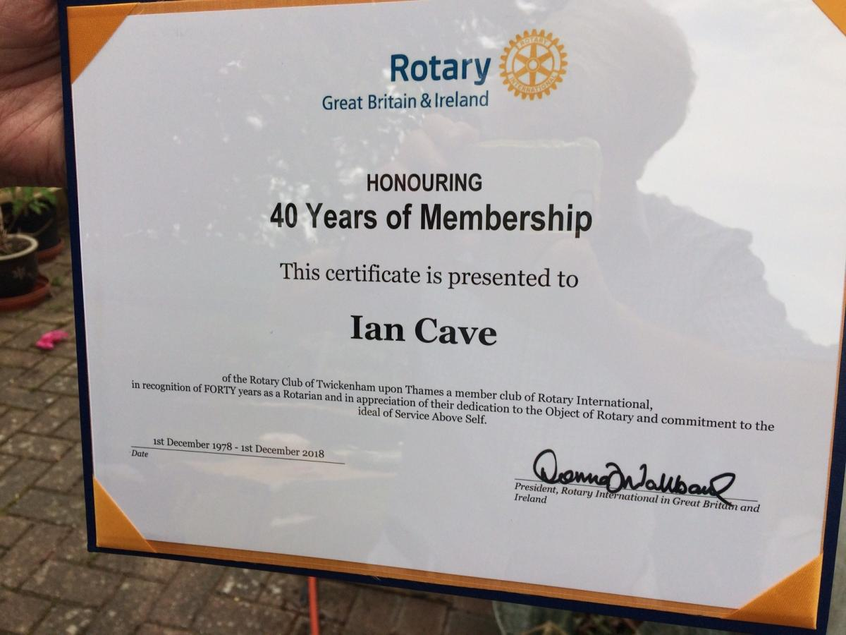 Annual Putting Evening - Celebrating Ian Cave's membership of the Club for 40 years
