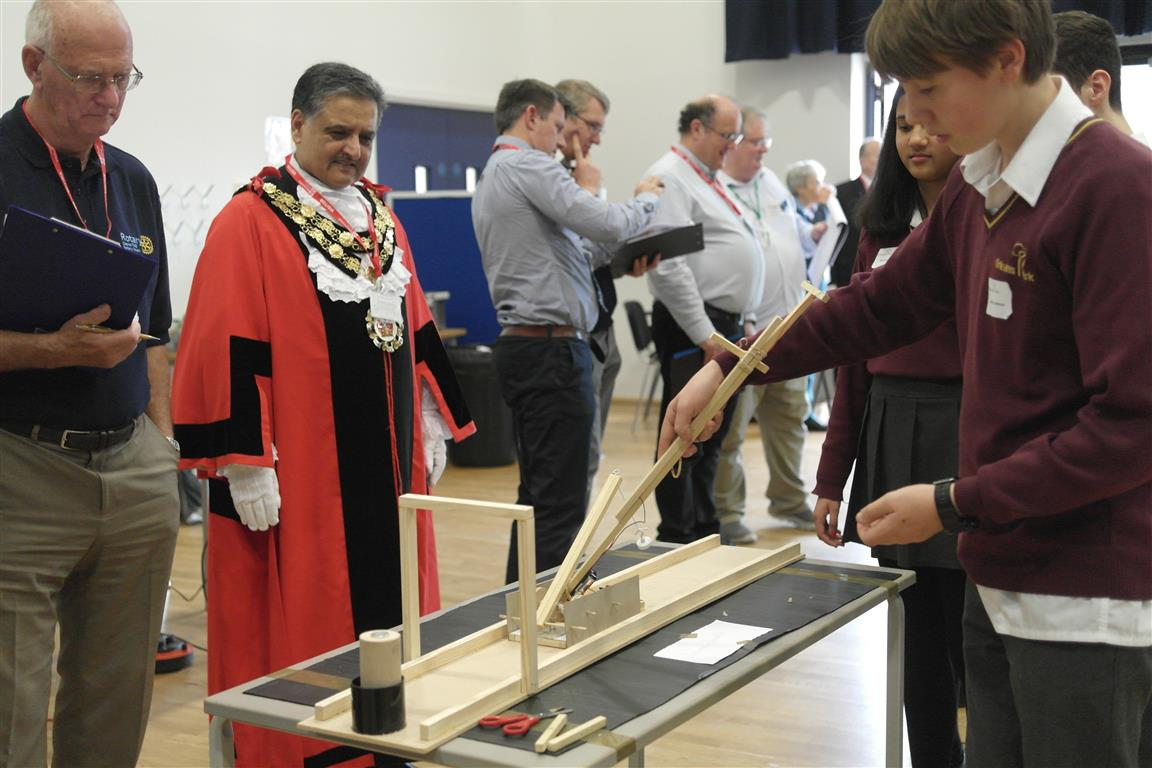 Technology Tournament led by Twickenham Rotary Club  - The Mayor of Richmond watches with enthusiasm