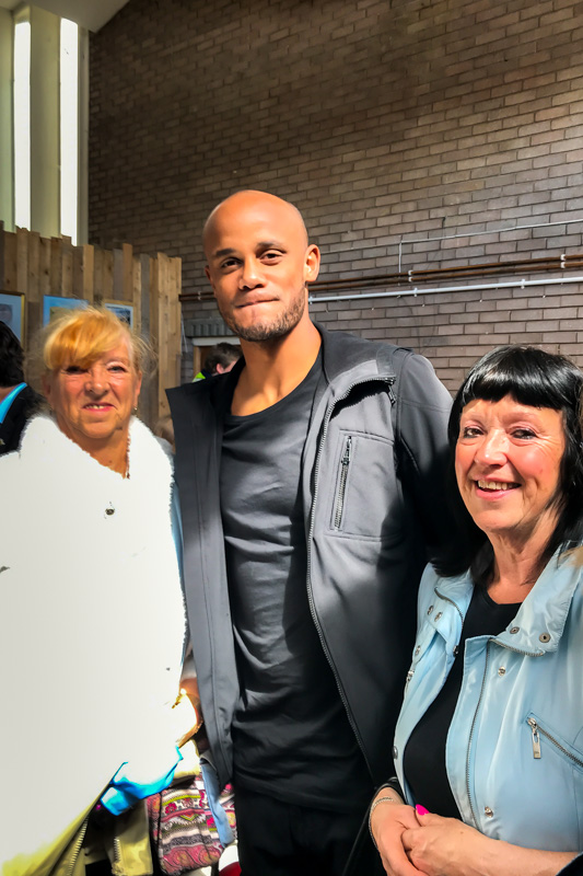 The Well opening day - Carole and Trish with Vincent Kompany