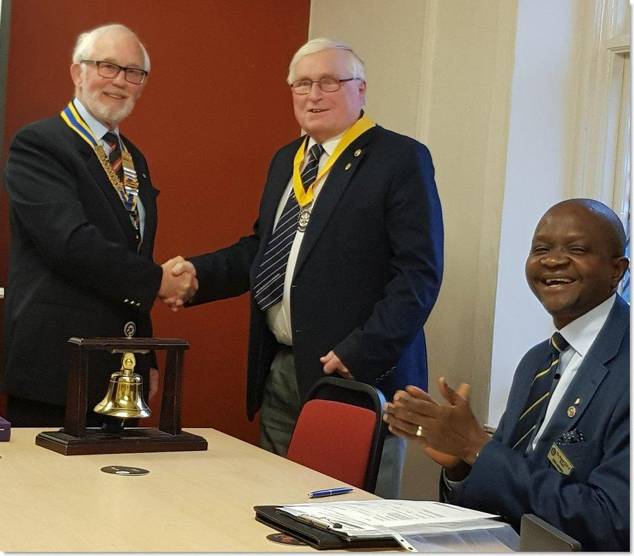 New President and President Elect installed for 2019/20 - President Brian Eyre, President Elect Brian Price and Assistant Governor Debo Adesina