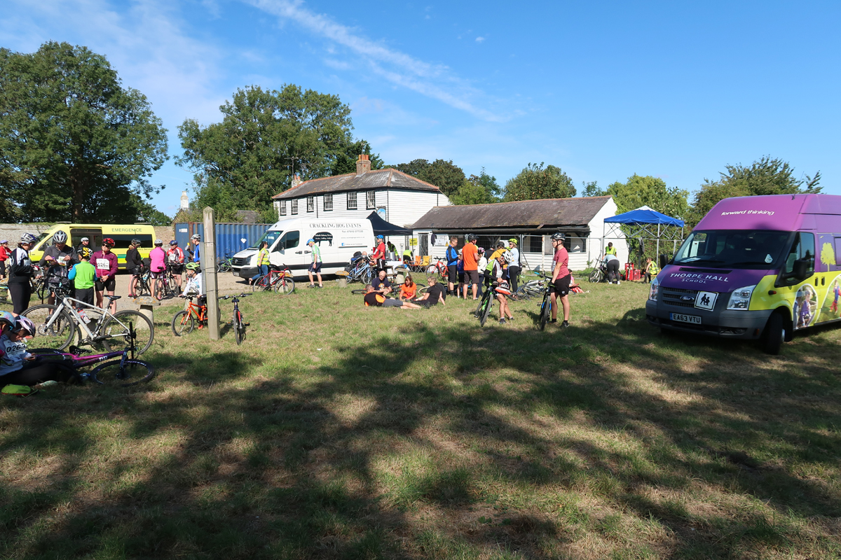 2019 Foulness Bike Ride - Riders relax at Churchend and take some refreshments