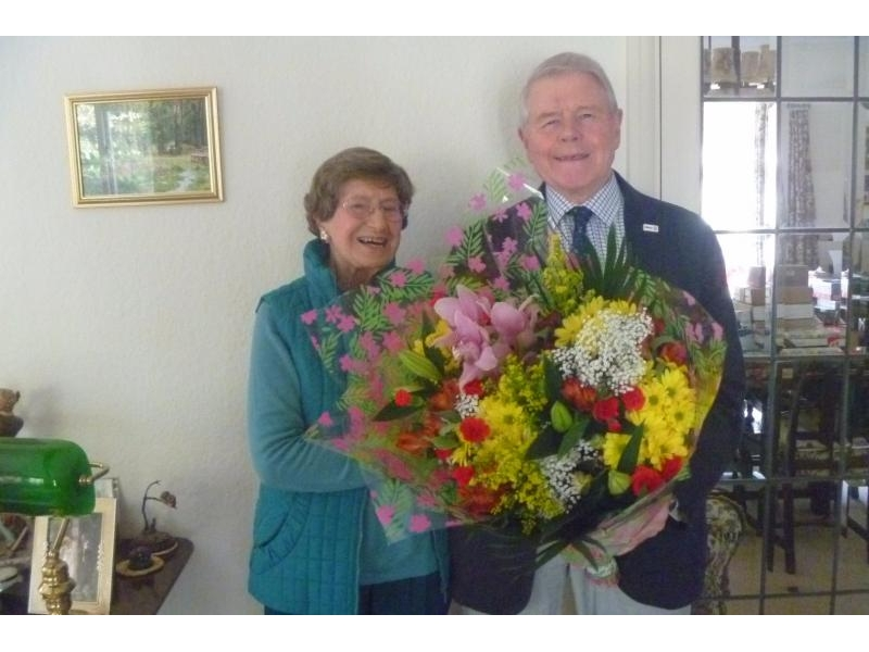 DONATIONS,  PRESENTATIONS AND OTHER SPECIAL OCCASIONS - Vera is a very regular attender and fundraiser and celebrated her 96th birthday on 29 February 2016. President Lawrie presented her with flowers on that very special day.