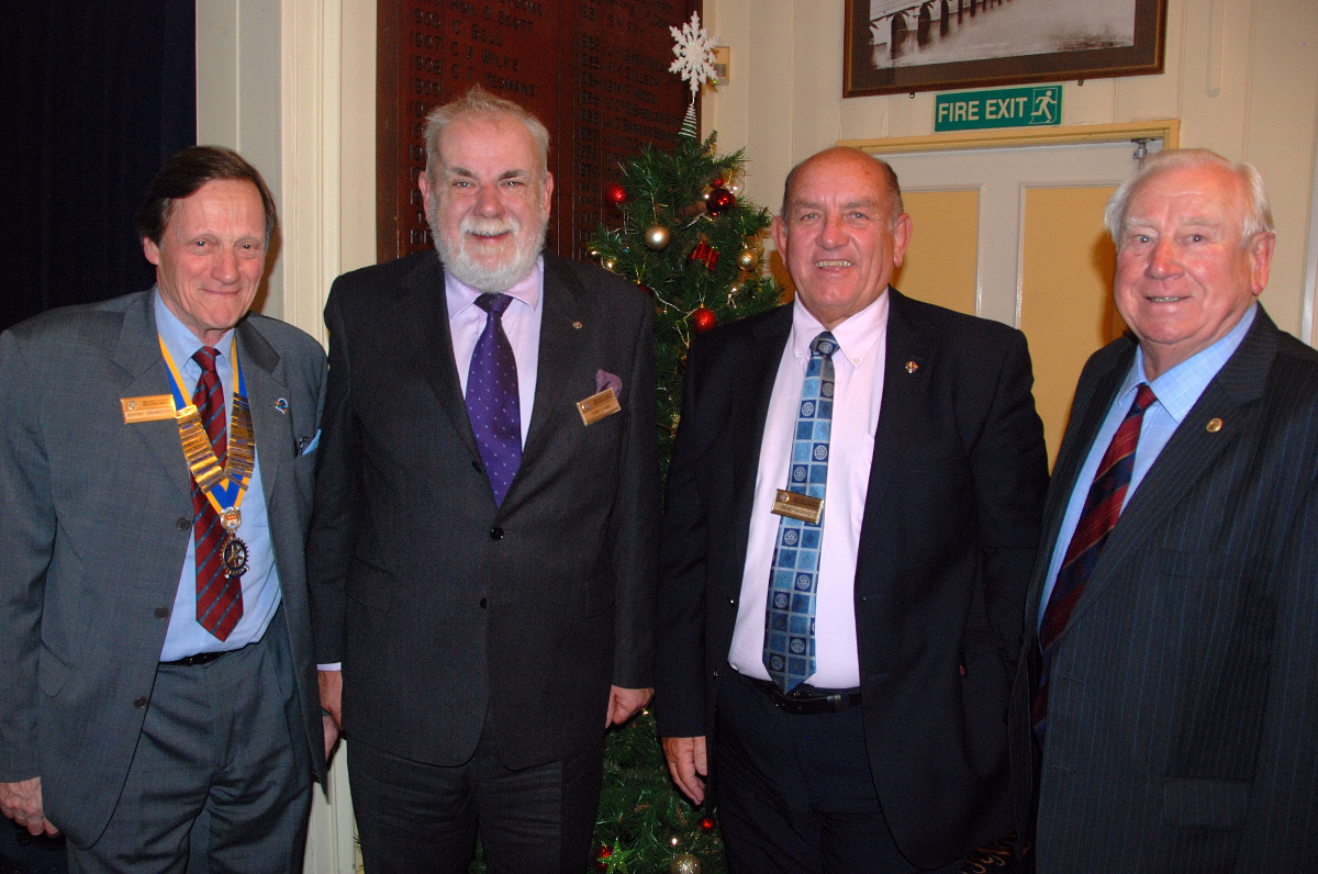 2015-16 Rotary Year - Tony Lewis's induction to full Club Membership - photo shows Pres. Jeremy, and Rotarians Tony Lewis, Peter Morris and Tony's father, Rtn Roy Lewis from Gloucester Rotary Club