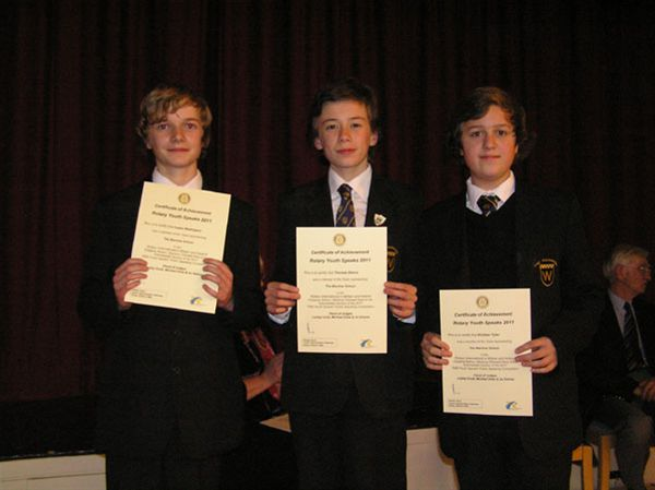 YOUTH SPEAKS 2010 - The winning junior team from The Warriner School - Lewis Wallington, Thomas Dence and Kristian Tyler.