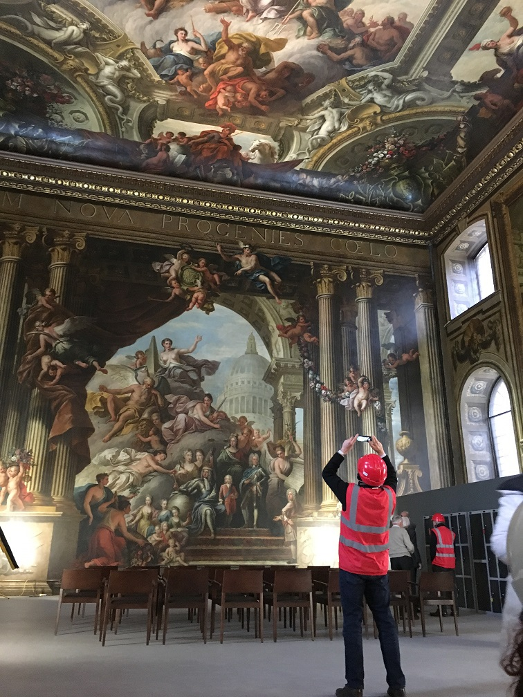 Visit to the Painted Ceiling Greenwich - The West wall which has been cleaned and preserved, with the painting in its full glory