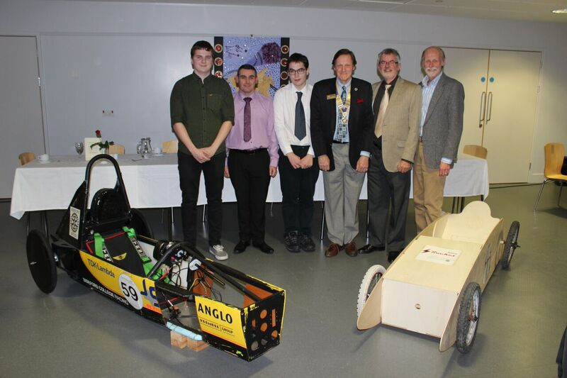 2015-16 Rotary Year - An evening meeting at Bideford College with 2 Kit Cars on show. L to R: Student Matt Harris, Teacher, Sean Daly, Student Max Locker, Pres. Jeremy, Don Carter & Don Adams