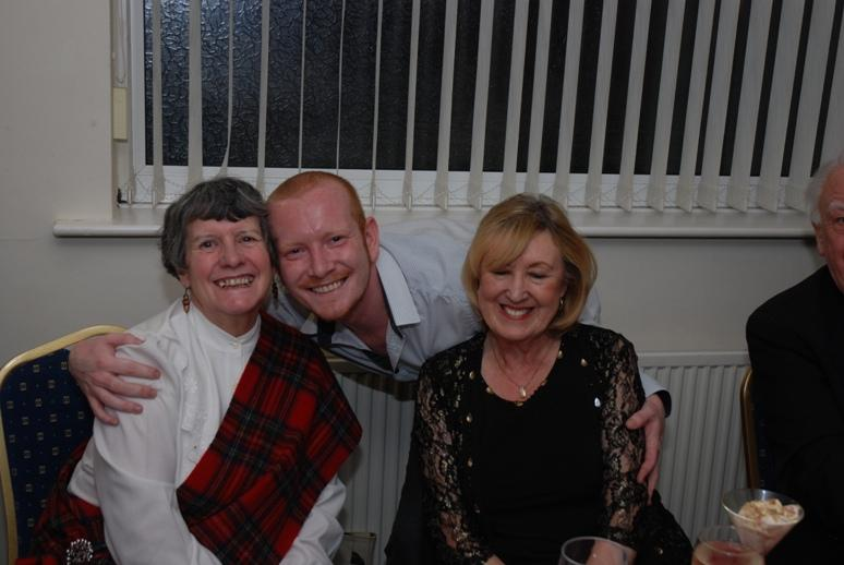 BURNS NIGHT - 2016 - Steve our waiter wanted a picture with President Barbara and Secretary Anne.