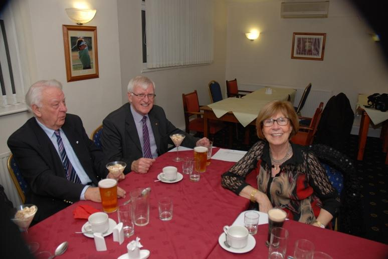 BURNS NIGHT - 2016 - Eric and Trevor on the Top Table. Is Eric doing a 'Robbie Burns' and admiring Carol from afar?