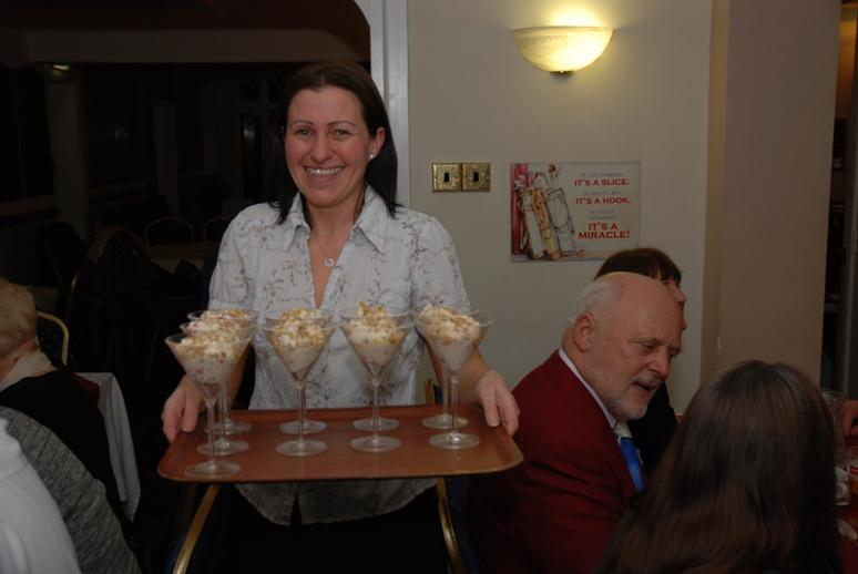 BURNS NIGHT - 2016 - Nicola with a tray of Cranachan delights.