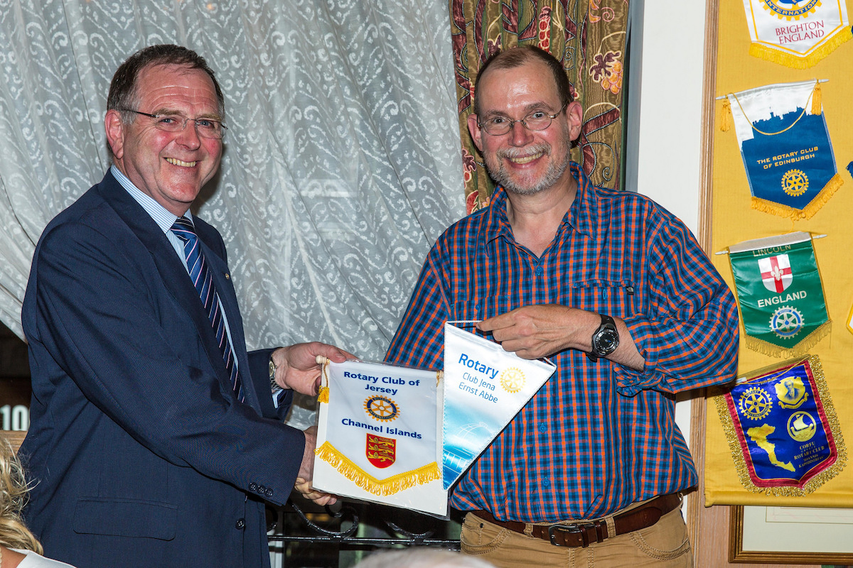 Wednesday 27th of July 2016 - Roger Bougeard and visiting Rotarian exchange Club Banners