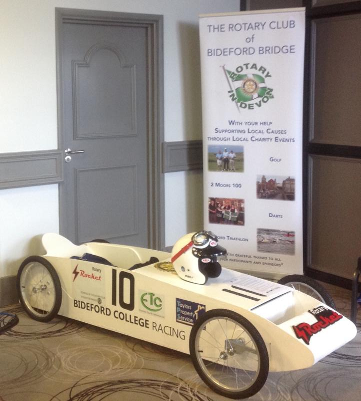 2015-16 Rotary Year - The pictured kit car, 'The Rotary Rocket' built by Bideford College was on display in the House of Friendship at the District Conference encouraging other Clubs to be involved
