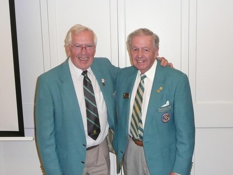 Interaction/co-operation With Other Clubs, District and RIBI - Graham Hardy and Peter Allin DGs in 1997  for Districts 1150 and 1140  respectively meet at the Visit of Camberley club