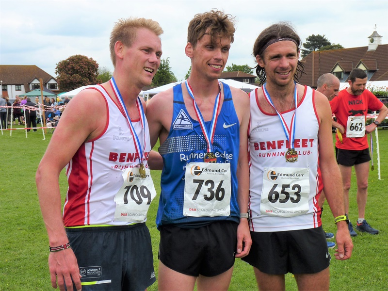 Great Baddow Charity Races - L-R 3rd Christopher Wayman 1st Paul Whittaker 2nd James Caldon