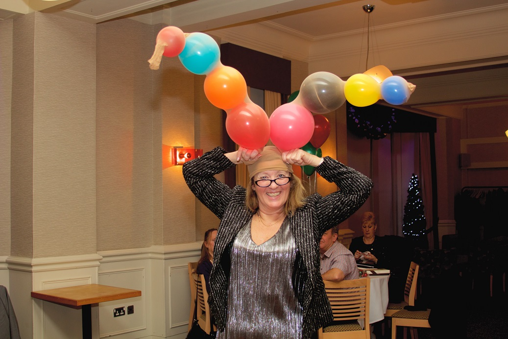 Christmas Party 2017 - Angela Butcher showing off her Antlers