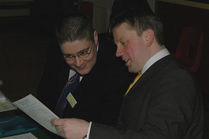 Rotary Youth Jazz Band Challenge 2010 - Steward Toby Blundell (L) with Adjudicator James Stretton (R)