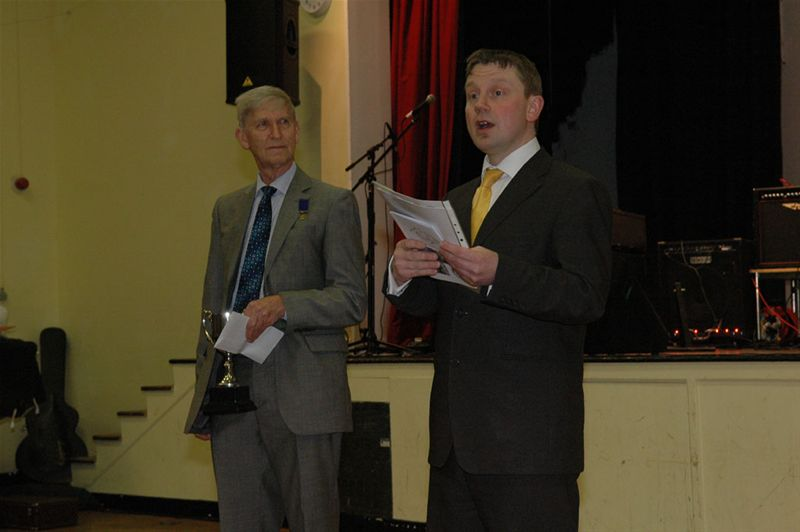 Rotary Youth Jazz Band Challenge 2010 - Adjuudicator James Blundell declares the winners, watched by Rotarian Don Ross