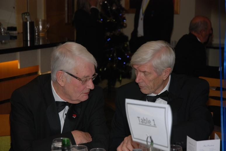 CHARTER DINNER 2015 - Harry and John, two old Charter Night veterans chat.